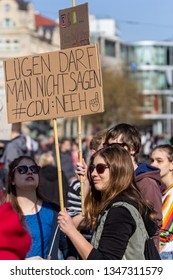 """Erfurt, Germany – Mar. 23, 2019: CDU should not lie sign slogan at protest march demonstration against new copyright law by European union, namely """"Artikel 13"""".Protester got called bots by CDU"""