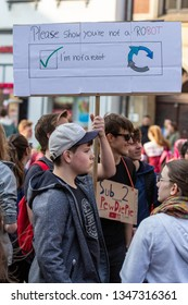 Erfurt, Germany – Mar. 23, 2019: Show you are not a bot sign slogan at protest march demonstration against new copyright law by European union after german CDU told online petition was signed by bots