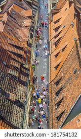 ERFURT, GERMANY- MAY 26: Houses on famous Kraemerbruecke on May 26,2012 in Erfurt, Germany.  It is the longest bridge with  houses in Europe and dates back to 1325.