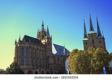 ERFURT, GERMANY - Sep 21, 2019: Erfurt Cathedral in summer with a blue sky in the afternoon. Dom Erfurt im Sommer bei blauem Himmel am Nachmittag.