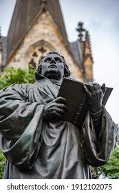 Erfurt, Thuringia, Germany - 31 August 2020: The Luther Monument is located on the northern side of the Angers in Erfurt. The monument was designed by Fritz Schaper and inaugurated in 1889.