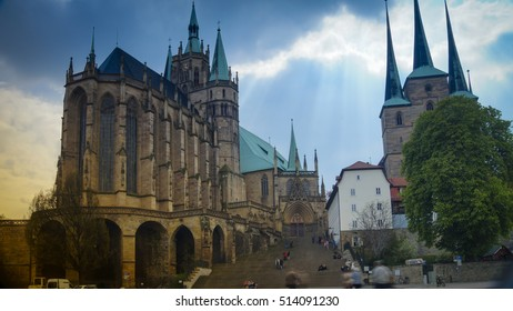 Erfurt,Germany, circa 2016:Erfurt Cathedral and Severikirche,Germany. Both churches tower above the town scape and are accessible via huge open stairs called Domstufen.