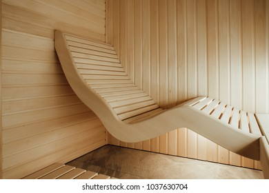 Ergonomic lounger in sauna designed from individual project