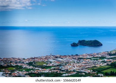 Erial view of Vila Franca do Campo town with its famous volcanic islet near the coast. In Sao Miguel island of Azores, Portugal.