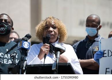 Eric Garner Anti-Chokehold Act Community Bill Signing, Gwen Carr, Mother of Eric Garner, Harlem, New York / USA - June 13th 2020