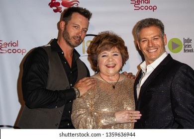 Eric Martsoff, Patrika Darbo, Kevin Spirtas, arrive at the 10th Annual Indie Series Awards at The Colony Theatre in Burbank, CA on April 3, 2019.