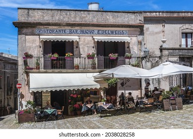 Erice, Italy - May 11, 2019: Nuovo Edelweiss restaurant in Erice, small town in Trapani region of Sicily Island