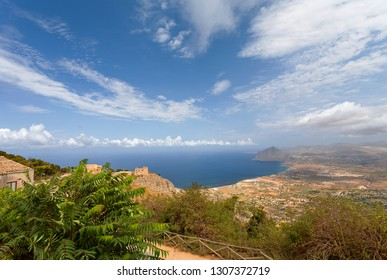 Erice, Sicily, Italy  - Panoramic view from Erice at Mediterranean sea (Tyrrhenian sea) and road to Erice, Trapani province.