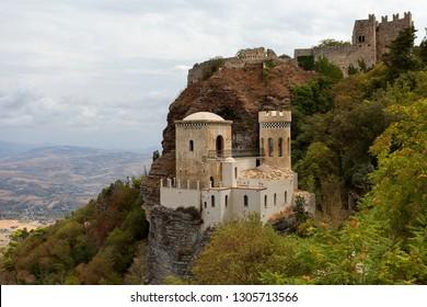 Erice, Trapani province, Sicily, Sicilia, Italy - the Pepoli Castle is also known as Venus Castle (Castello di Venere). The norman castle, a fortress for Venus. Torretta Pepoli.