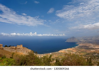 Erice, Trapani province, Sicily, Sicilia, Italy  - Panoramic view from Erice at Mediterranean sea (Tyrrhenian sea) and road to Erice