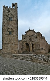 Erice, Trapani - Sicily, Italy: Erice is an ancient medieval village near Trapani whose foundation dates back to the Phoenicians. Cathedral of the Assumption with its bell tower.