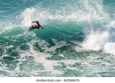 ERICEIRA, PORTUGAL - JANUARY 12, 2015: Hiroto Ohhara (JPN) during the 2016 World Junior Championships, Men's Junior Tour #1 at Ribeira D'Ilhas beach - Ericeira, Portugal.