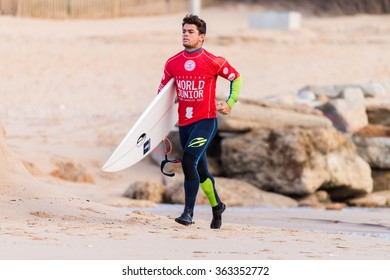 ERICEIRA, PORTUGAL - JANUARY 12, 2015: Deivid Silva (BRA) during the 2016 World Junior Championships, Men's Junior Tour #1 at Ribeira D'Ilhas beach - Ericeira, Portugal.