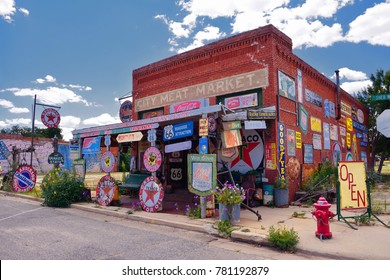 Erick, Oklahoma, Usa - July 20, 2017 : Sandhills Curiosity Shop located in Erick's oldest building - the City Meat Market. It is a large collection of crazy Route 66 memorabilia.