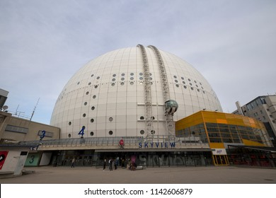 Ericsson Globe, Stockholm, Sweden - 26 Jun 2018: It is the largest hemispherical building on Earth.