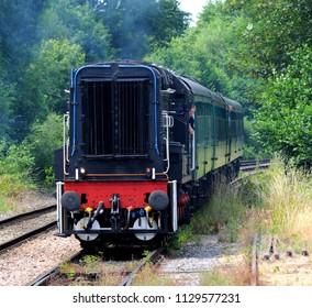Eridge, Kent / UK - 07/01/2018: 1968 British Rail Class 10 D3489 'Colonel Tomline' diesel-electric shunter approaching Eridge Station on the Spa Valley Railway.