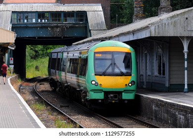Eridge, Kent / UK - 07/01/2018: British Rail Class 171 Turbostar diesel multiple unit (DMU) no 171201 in Southern Rail livery, built by Bombardier Transportation.