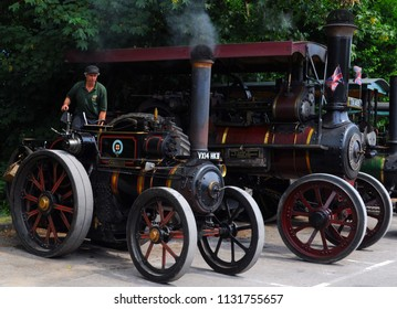 Eridge, Kent / UK - 07/01/2018: Reproduction of Ruston Proctor traction engine (l) and 1903 Charles Burrell & Sons traction engine no 2575 (r) at Spa Valley Railway's 2018 Summer Transport Festival.