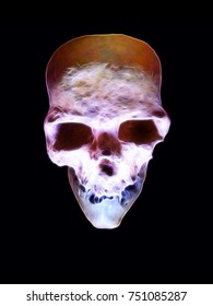 Erie abstract skull illuminated in ghoulish colours with webbed lines