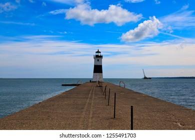 Erie Harbor North Pier Light on Lake Erie