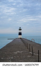 The Erie Harbor North Pier Lighthouse. Located on the Presque Isle State Park in Erie, Pennsylvania.