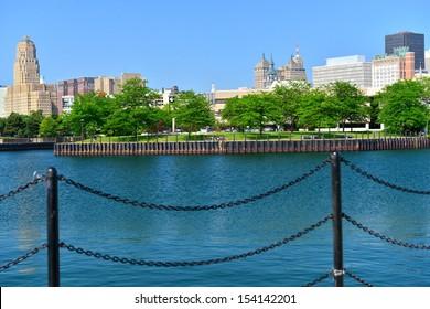 Erie Marina Basin and Buffalo skyline, Buffalo, NY, USA