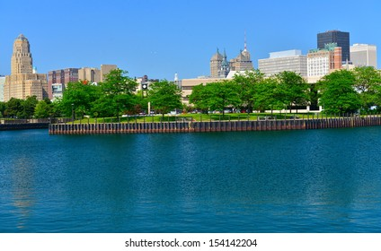 Erie Marina Basin and Buffalo skyline, Buffalo, NY, USA