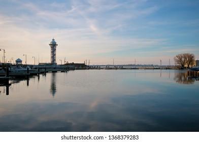 Erie, Pennsylvania / USA - April 2019:  Bicentennial Tower at Dobbins Landing showing east pier after demolition of McAllister building.