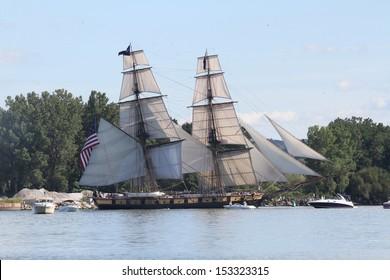 Erie, Pennsylvania, USA - September 5, 2013: The US Brig Niagara sailing into the 2013 Tall Ships Erie Festival