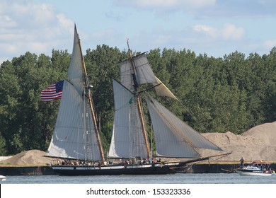 Erie, Pennsylvania, USA - September 5, 2013: The Lynx sailing into the 2013 Tall Ships Erie Festival