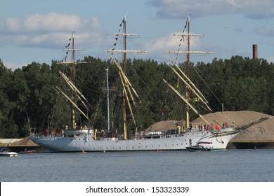 Erie, Pennsylvania, USA - September 5, 2013: The Sorlandet sailing into the 2013 Tall Ships Erie Festival