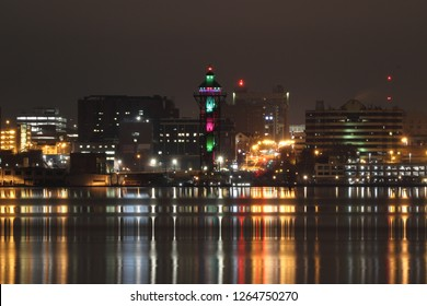 Erie, Pennsylvania/United States Circa 2018: Bicentennial Tower located at Dobbins Landing on Lake Erie lit in Christmas colors.