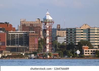 Erie, Pennsylvania/United States Circa 2018: Bicentennial Tower located at Dobbins Landing on Lake Erie