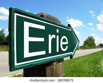 Erie signpost along a rural road