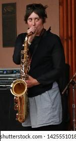 Erin Geye Saxophone Player for the Band MILLK (Main Intent Live Like Kings) at the FIBARK Festival, Salida, CO/USA (June 15, 2019)