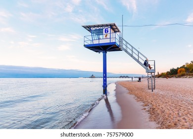 eringsdorf, Germany - October 23, 2017: beach scene with unidentified people on Usedom that is a Baltic Sea island in Pomerania, divided between Germany and Poland, it's second biggest German island