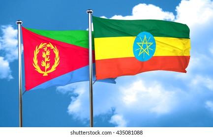 Eritrea flag with Ethiopia flag, 3D rendering