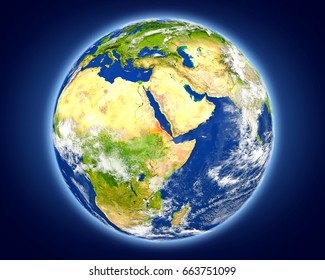 Eritrea highlighted in red on planet Earth. 3D illustration with detailed planet surface. Elements of this image furnished by NASA.
