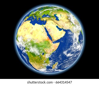 Eritrea on planet Earth. 3D illustration with detailed planet surface. Elements of this image furnished by NASA.