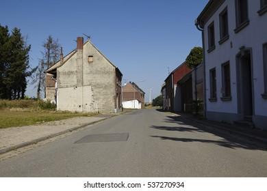 ERKELENZ, GERMANY - SEPTEMBER, 10. The ghost village Immerath (Erkelenz) near opencast mining Garzweiler (Northrhine Westphalia, Germany) on September 10, 2016.