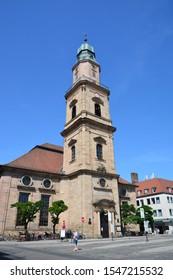 Erlangen, Bavaria / Germany – 2018.07.19: Evangelic Huguenots Church (Hugenottenkirche) in the city of Erlangen, Bavaria, Germany