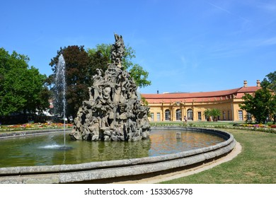 Erlangen, Bavaria / Germany – 2018.07.19: Huguenots Fountain in the city of Erlangen, Bavaria, Germany
