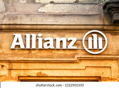Erlangen, Germany - 15 SEP, 2018: Allianz office building in Erlangen. Allianz is a European financial services company headquartered in Munich, Germany
