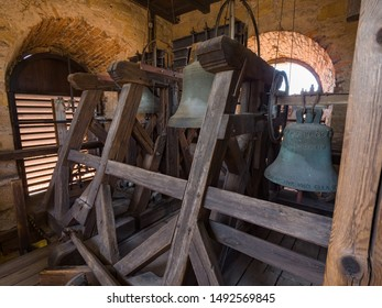 Erlangen, Germany, August 18, 2019: Interior view of the bell tower inside of the Church of Huguenots Erlangen, Bavaria Germany