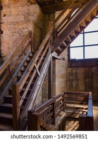 Erlangen, Germany, August 18, 2019: Staircase to the viewing platform Church of Huguenots Erlangen, Bavaria Germany