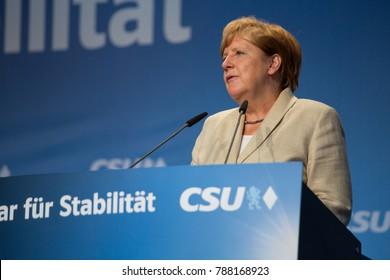 Erlangen, Germany August 30, 2017 Angela Merkel speaks at an election rally in Bavaria during a campaign that lead to an indecisive result and months of political negotiations.