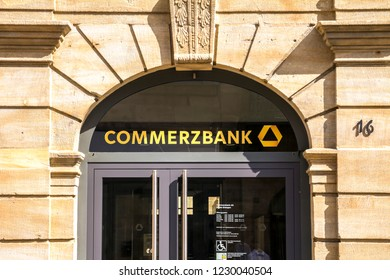 Erlangen, GERMANY, SEP 15, 2018: Commerzbank branch. Commerzbank AG is one of the largest banks in Germany, it is active in commercial banking, retail banking and mortgaging
