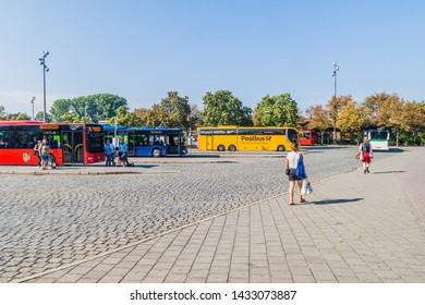 ERLANGEN, GERMANY - SEPTEMBER 15, 2016: View of the Bus station in Erlangen, Germany