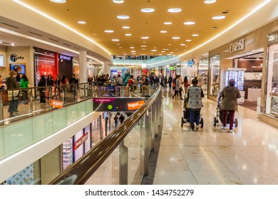 ERLANGEN, GERMANY - SEPTEMBER 19, 2016: Interior of Arcaden shopping mall in Erlangen, Germany