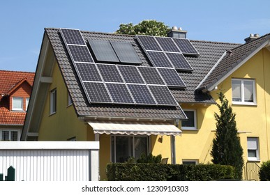 Erlenbach, Germany - 29 APR 2018: Solar panel on a black roof of a private house